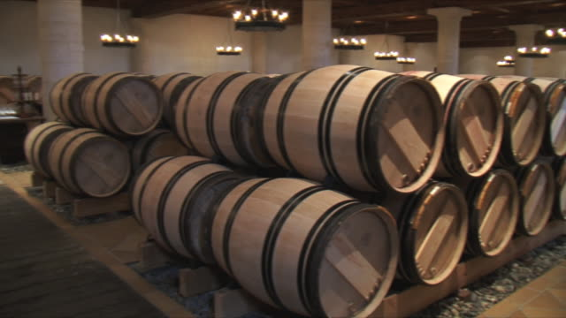 ws pan rows of barrels in cellar / bordeaux, gironde, france - wine cask stock videos and b-roll footage