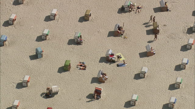 AERIAL Rows of beach huts, Rostock, Mecklenburg-West Pomerania, Germany