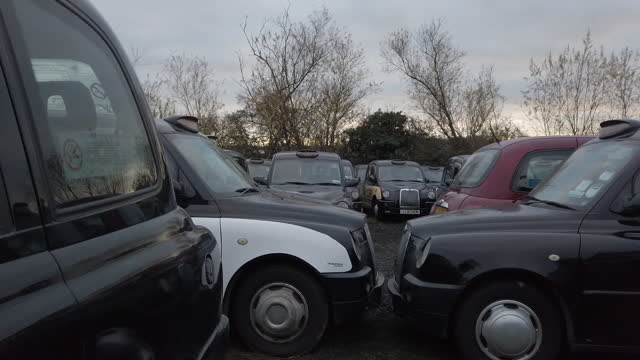 rows of black london taxis stored in epping forest amid covid-19 lockdown. black cabs stored in epping forest field after coronavirus lockdown forces... - flatten the curve stock videos & royalty-free footage