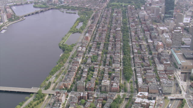 aerial rows of brownstone buildings in boston's back bay neighborhood / massachusetts, united states - back bay stock-videos und b-roll-filmmaterial
