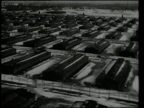 Rows of buildings on grounds of Auschwitz / Oswiecim Germany