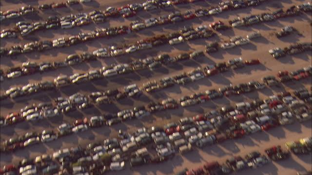 aerial rows of cars in junkyard, el paso, texas, usa - junkyard stock videos and b-roll footage