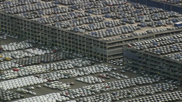 AERIAL Rows of cars on parking lot, Bremerhaven, Bremen, Germany