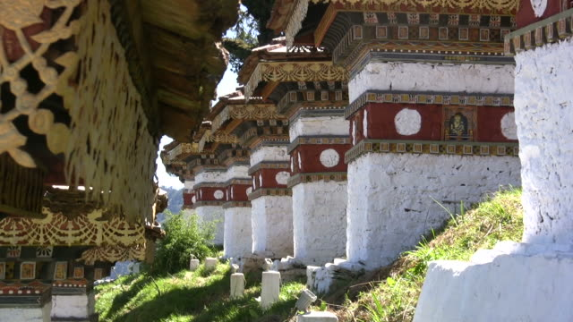 rows of chortens - bhutan series - bhutan stock videos & royalty-free footage