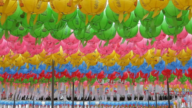 ms rows of colorful paper lanterns at bongwonsa temple / seoul, south korea - repetition stock videos & royalty-free footage