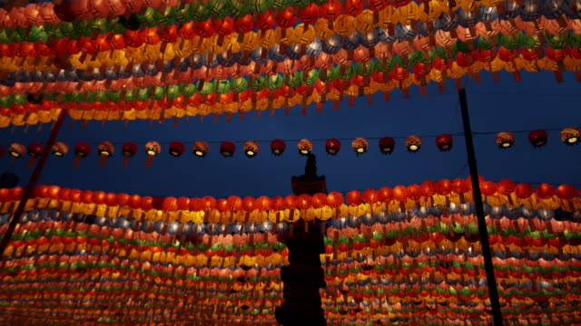ms la rows of colorful paper lanterns with prayers at jogyesa temple, buddha's birthday, seoul, south korea - buddha's birthday stock videos and b-roll footage
