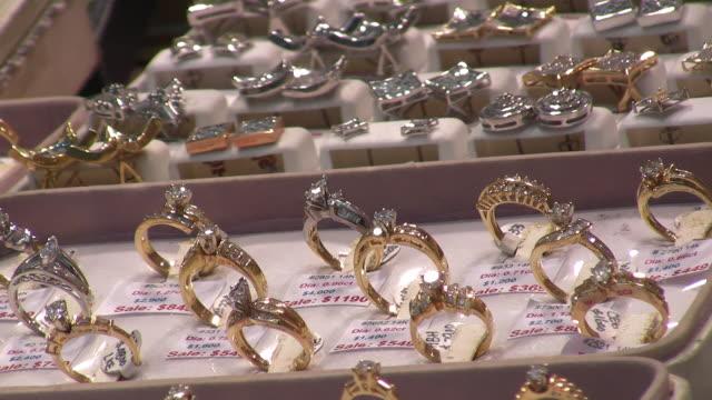 cu, rows of diamond rings in display window, new york city, new york, usa - diamond gemstone stock videos and b-roll footage