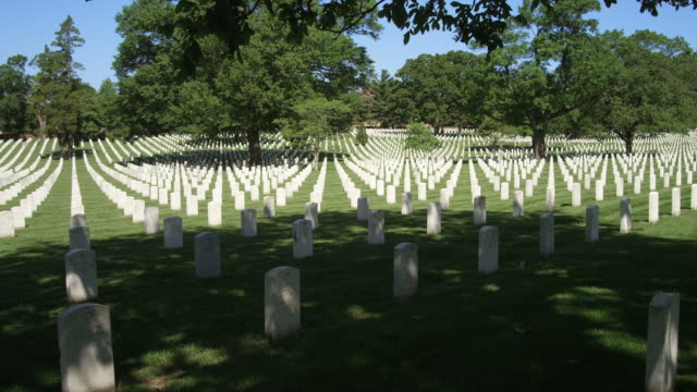 rows of government-issued grave markers in arlington national cemetery. shot in may 2012. - cimitero nazionale di arlington video stock e b–roll