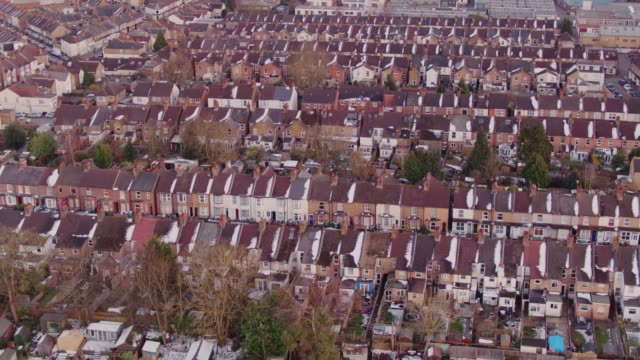 rows of houses in watford, england - aerial view - suburban stock videos & royalty-free footage