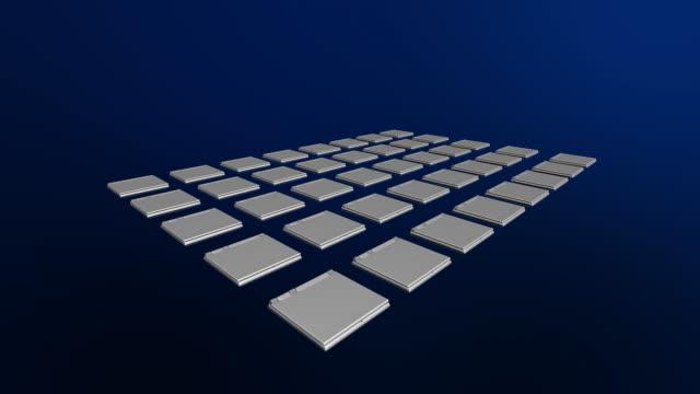 vidéos et rushes de cgi, rows of laptops opening - groupe moyen d'objets