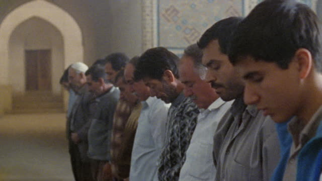 ms pan rows of men praying in jameh mosque (friday mosque) / yazd, iran - iran stock videos & royalty-free footage
