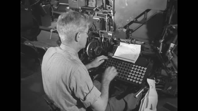 rows of men working and newspaper linotype machines at the new york daily news / fingers typing on keyboard / high angle man typing on linotype... - linotype machine stock videos & royalty-free footage