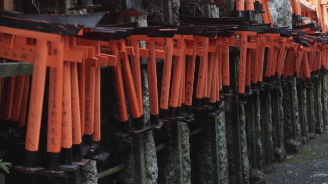 CU PAN Rows of miniature Torii gates at Fushimi Inari Taisha shrine, Kyoto, Japan