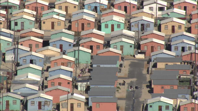 aerial rows of multicolored houses, township khayelitsha, western cape, south africa - western cape province stock videos & royalty-free footage