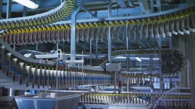 ld file di giornali che viaggiano sui nastri trasportatori che si snodano attraverso la fabbrica di stampa - catena di montaggio video stock e b–roll