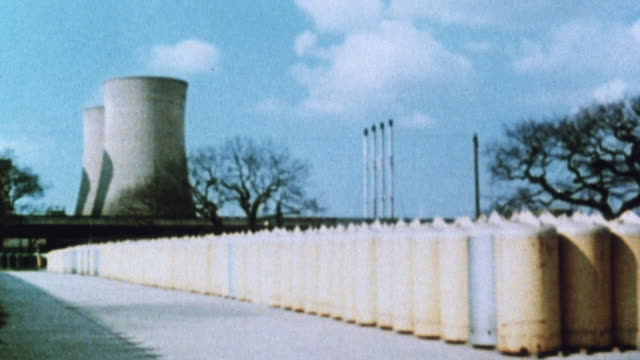 1981 montage rows of nuclear storage containers of uranium and plutonium and a comparable amount of coal shown as graphics / united kingdom - 1981 stock videos & royalty-free footage