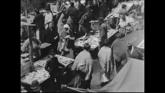 rows of pushcarts and street vendors possibly near hester street which at the turn of the century was the center of commerce for new york's jewish... - judaism stock videos & royalty-free footage