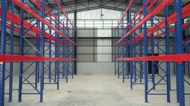 rows of shelves but it is empty in warehouse - compartment stock videos & royalty-free footage