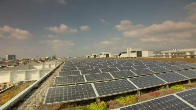 WS PAN Rows of solar panels covering roof / Basel, Switzerland