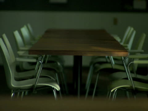 vidéos et rushes de ms, rows of tables and chairs in empty office lunch room - groupe moyen d'objets