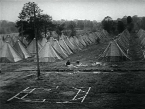 pan rows of tents set up by wwi veterans for bonus march / washington dc - 1932 stock-videos und b-roll-filmmaterial