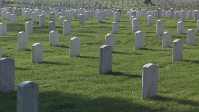 ws, pan, rows of tombstones, arlington national cemetery, arlington, virginia, usa - cimitero nazionale di arlington video stock e b–roll