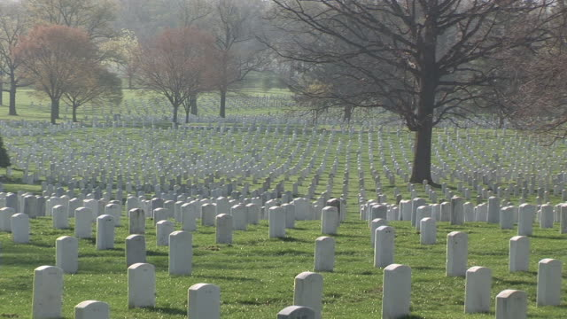 ws, ds, rows of tombstones, arlington national cemetery, arlington, virginia, usa - アーリントン国立墓地点の映像素材/bロール