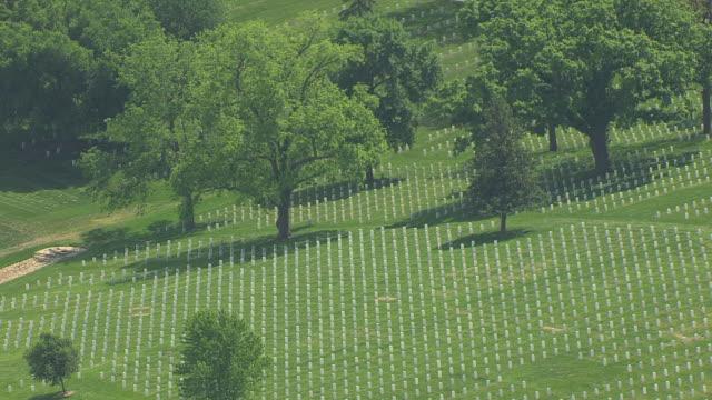 ws aerial rows of white graves at mount muncie cemetery / lansing, kansas, united states - lansing stock videos and b-roll footage