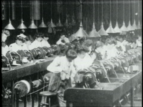 b/w 1904 rows of women work on machinery in textile? factory - 1904 stock videos & royalty-free footage