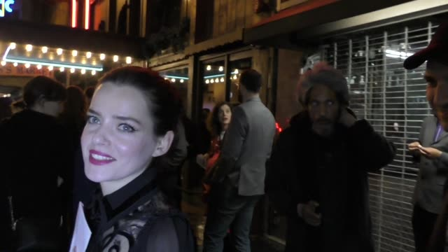 roxane mesquida talks about now apocalypse outside the american gods season 2 premiere party at clifton's restaurant in los angeles in celebrity... - arts culture and entertainment stock videos & royalty-free footage