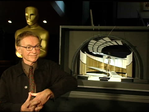 roy christopher and model of the stage at the 2005 academy awards set design unveiling at the samuel goldwyn theater ampas in los angeles california... - samuel goldwyn theater stock videos & royalty-free footage