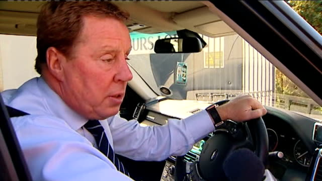 roy hodgson interviewed for post of england football manager; england: essex: chigwell: ext car driven by tottenham hotspur manager harry redknapp... - ハリー レッドナップ点の映像素材/bロール