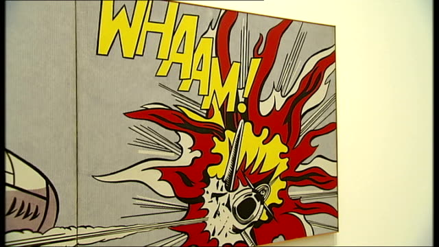 roy lichtenstein exhibition at tate modern england london int artwork by roy lichtenstein with speech bubble 'i pressed the fire control and ahead of... - speech bubble stock videos & royalty-free footage