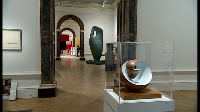 royal academy modern british sculpture exhibition; general view of exhibits in gallery more of exhibits in glass display case / close ups of ceramic... - henry moore stock videos & royalty-free footage