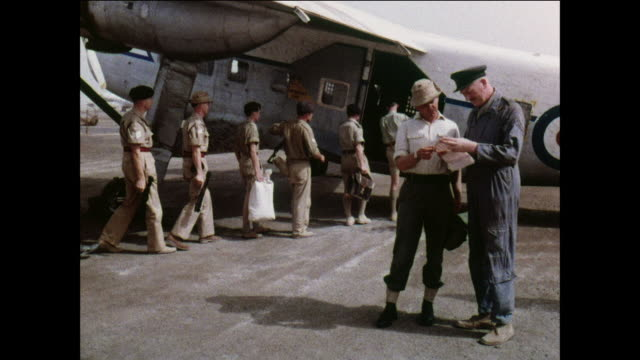 ts royal air force aircraft takes off to transport soldiers on rest and recuperation / aden, yemen - royal air force video stock e b–roll