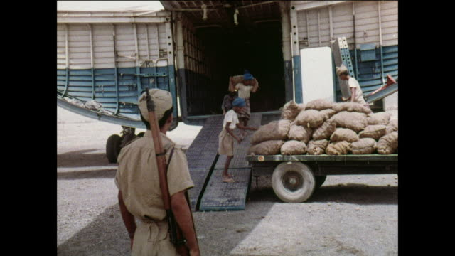 ts royal air force beverly aircraft unloads cargo through rear doors / aden, yemen - aden stock videos & royalty-free footage