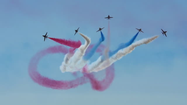 royal air force red arrows airshow display, slow motion - stunt stock videos & royalty-free footage