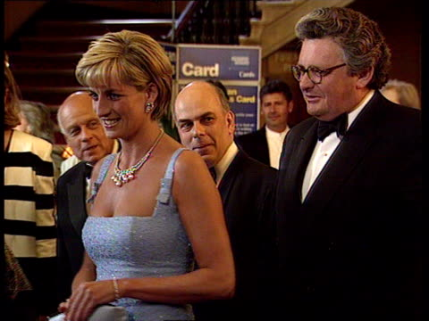 royal albert hall: princess diana shaking hands as attends gala performance of swan lake by the english national ballet - royal albert hall stock videos & royalty-free footage
