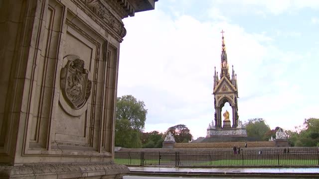 london ext various general views of the royal albert hall and the albert memorial - royal albert hall stock videos & royalty-free footage