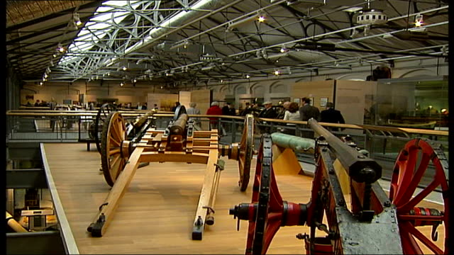 royal artillery to move from woolwich barracks sequence guns and equipment on display in artillery museum and members of public looking at exhibits... - barracks stock videos & royalty-free footage