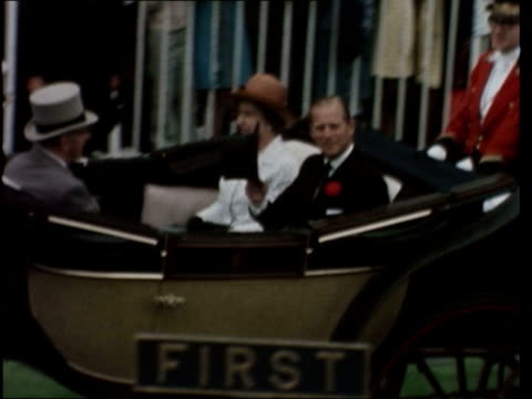 1st day england berkshire ascot racecourse queen elizabeth ii and prince philip duke of edinburgh along in carriage with bernard fitzalanhoward 16th... - queen dowager stock videos & royalty-free footage