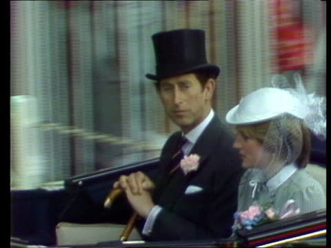 ascot pan parked rolls royce to man at boot puts on topper ms another rolls royce pan people out ms prince charles and lady diana spencer in open... - drink stock videos & royalty-free footage