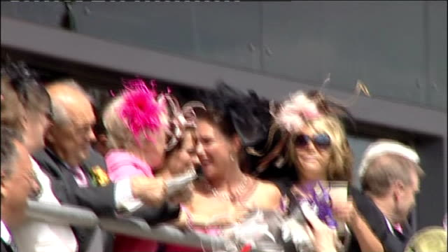 royal ascot queen elizabeth ii arriving at ascot women wearing feathered hats jumping up and down and screaming in excitement sot / spectators and... - horse blanket stock videos & royalty-free footage