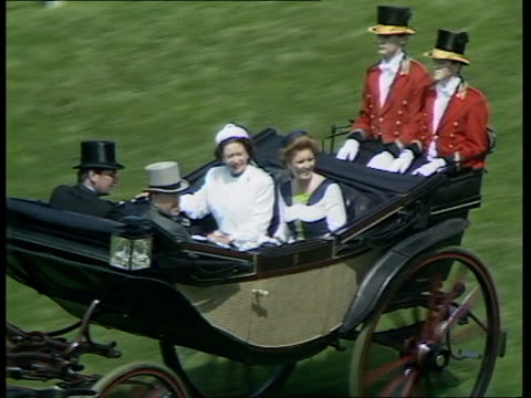 Second day ENGLAND Berkshire Ascot Ascot Racecourse Crowds and carriage procession Sarah Ferguson in coach with Princess Margaret along...