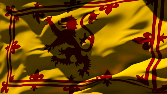 royal banner of scotland flag - loopable - scottish flag stock videos & royalty-free footage