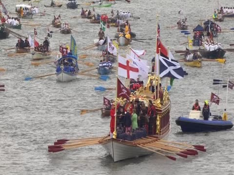 royal barge 'gloriana' travelling along the river thames as part of diamond jubilee pageant - beauty contest stock videos and b-roll footage