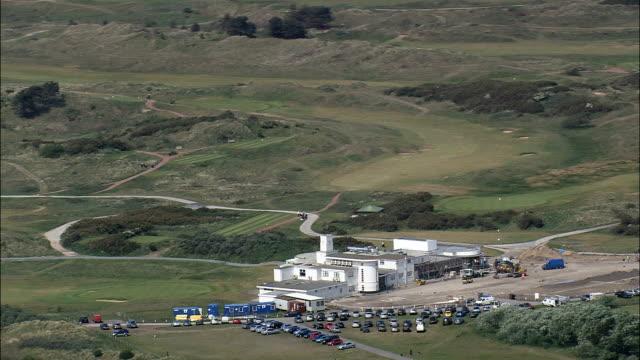 royal birkdale golf club  - aerial view - england, sefton, united kingdom - southport england stock videos & royalty-free footage