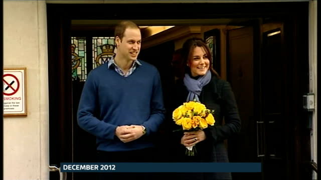Baby boy born to the Duke and Duchess of Cambridge ITV News Special PAB December 2012 Duke and Duchess of Cambridge from hospital and to car after...