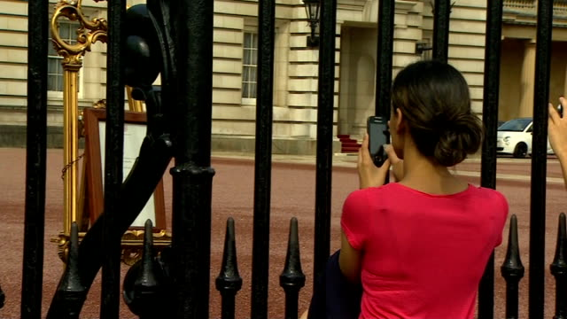 changing of the guard at buckingham palace england london buckingham palace ext people taking photographs of easle with royal baby announcement... - easel stock videos and b-roll footage
