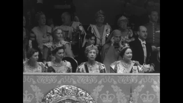 ws royal box at coronation of elizabeth ii / ms queen mother elizabeth and to her right princess royal mary elizabeth ii's aunt behind queen mother... - coronation stock videos and b-roll footage